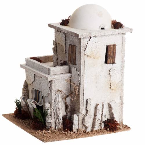 Nativity setting, double Arabian house with dome s5