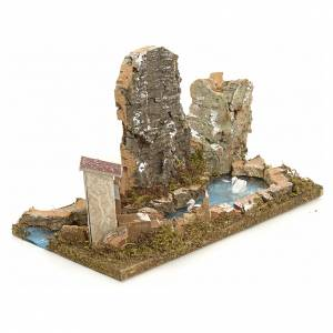 Bridges, streams and fences for Nativity scene: Nativity setting, pond with rocks and swans