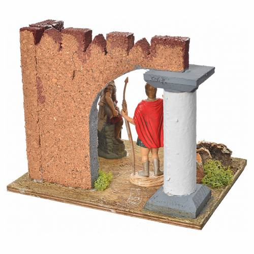 Nativity setting, Roman guards and castle wall s4