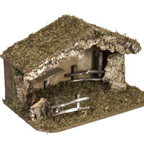 Nativity setting, simple stable in cork and moss 38x58x34cm s5