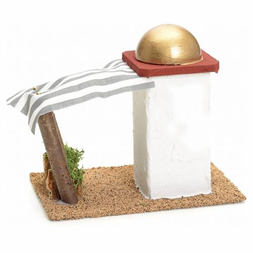 Nativity setting, single Arabian house with curtain H14cm s3
