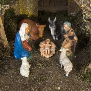 Stables and grottos: Nativity setting, stable with water mill 28x38x28cm