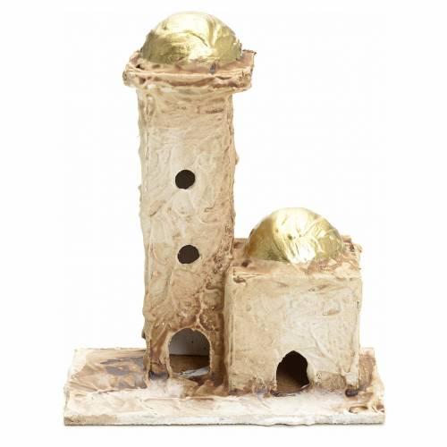 Nativity setting, stuccoed Arabian houses 16x10x6cm s1