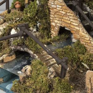 Nativity setting, village with fountain, stream and fence s7