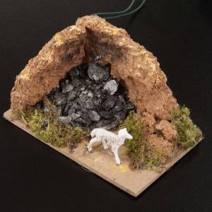 Settings, houses, workshops, wells: Nativity setting with charcoal measuring 10x6cm