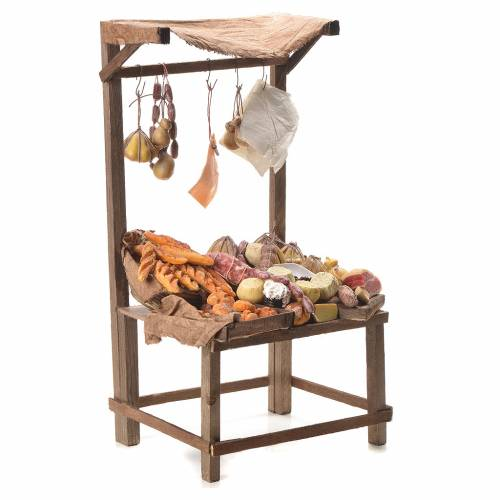 Nativity stall with bread, cheese, meat in wax 40x21x15cm s3