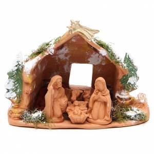 Nativity terracotta trees moos and snow 20x23x16cm s1