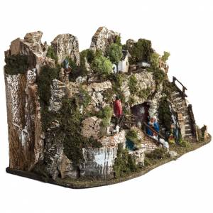 Nativity village with waterfall 74x43x36cm s6