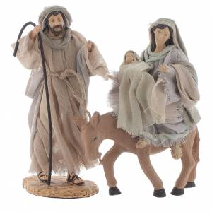 Nativity sets: Nativity with donkey in resin and fabric, lilac 22cm