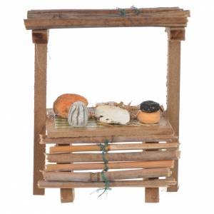Miniature food: Nativity wooden stall with cheeses in wax, 9x10x4.5cm
