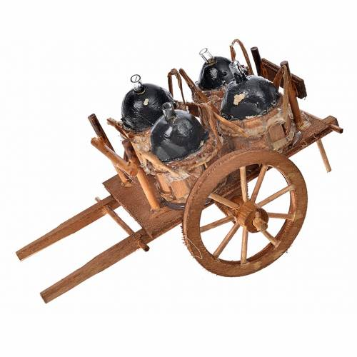 Neapolitan Nativity accessory, cart with demijohns 8x12x7.5cm s1