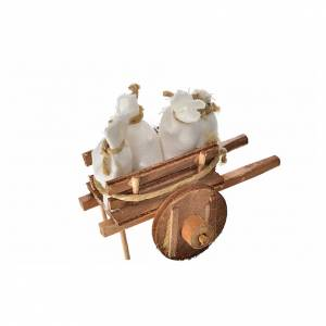 Neapolitan Nativity accessory, cart with sacks 5.5x7.5x5.5cm s2