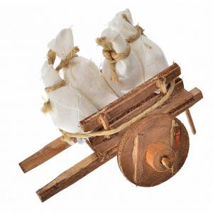Neapolitan Nativity Scene: Neapolitan Nativity accessory, cart with sacks 5.5x7.5x5.5cm
