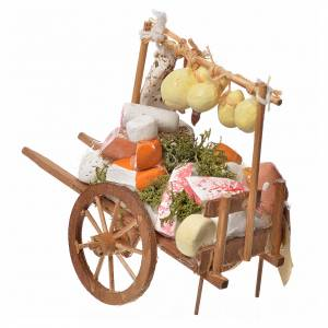 Neapolitan Nativity accessory, cheese cart in wood and terracott s3