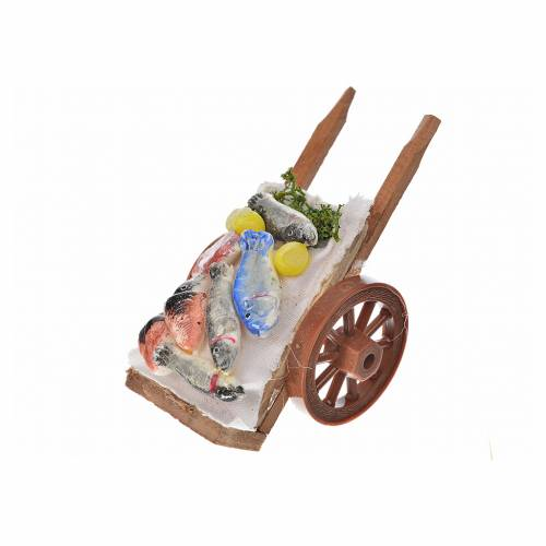 Neapolitan Nativity accessory, fish cart in wax 5x9x5cm 2