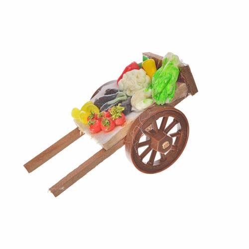Neapolitan Nativity accessory, vegetable cart in wax 5x9x5cm s1