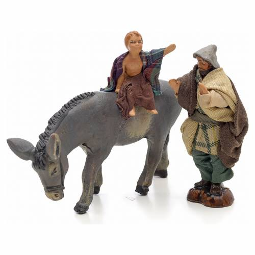 Neapolitan Nativity figurine, child on donkey with shepherd, 8 c s1