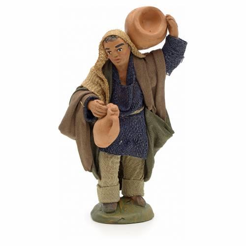 Neapolitan Nativity figurine, man carrying amphora, 10 cm s1