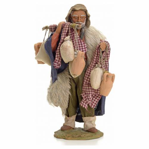 Neapolitan Nativity figurine, man with cloth bags, 24 cm s1