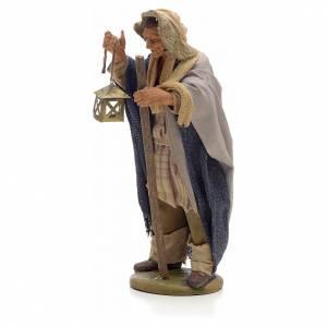 Neapolitan Nativity figurine, man with lantern and stick 14cm s2