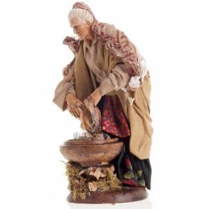 Neapolitan nativity figurine, old washerwoman 18cm s3