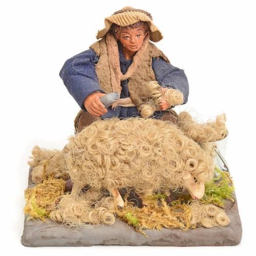 Neapolitan Nativity figurine, sheep shearer, 10 cm s1