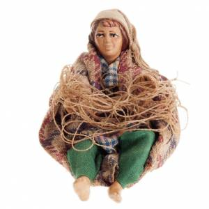 Neapolitan Nativity figurine, Sitting fisherman  8cm s1