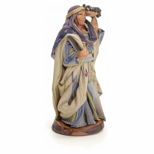 Neapolitan Nativity figurine, woman with bunches of grapes, 8 cm s2