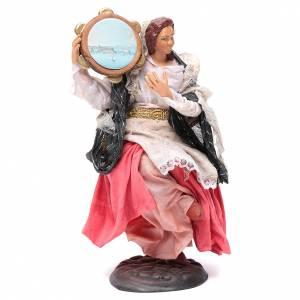 Neapolitan nativity figurine, woman with tambourine 18cm s2