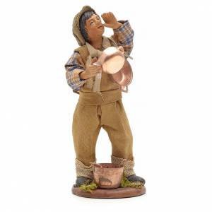 Neapolitan Nativity figurine, young boy with copper pans, 14cm s1
