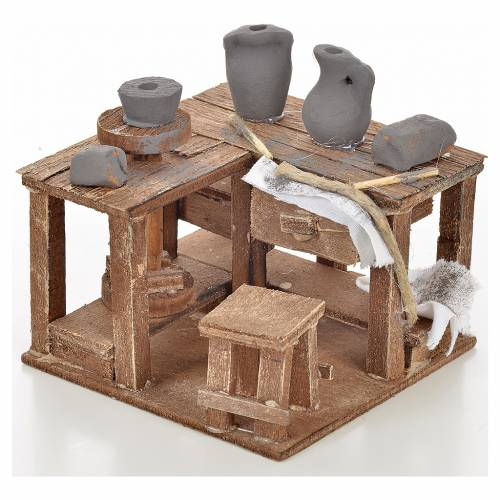 Neapolitan Nativity scene accessory, ceramist's table 9x9x6cm s1