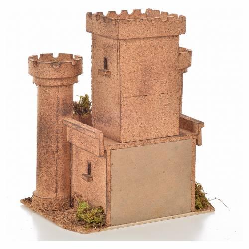 Neapolitan Nativity scene accessory, cork castle 14x18x21cm s4