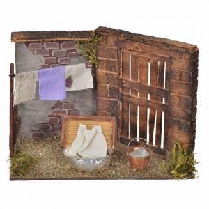 Neapolitan Nativity scene, laundress scene 10,5x15x8cm s1