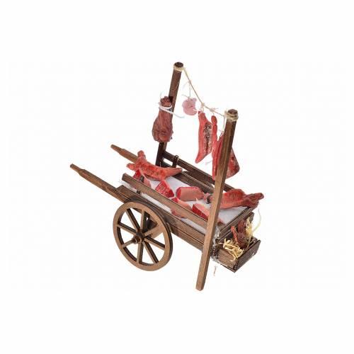 Neapolitan Nativity, terracotta butcher's cart, 15x18x8cm s3