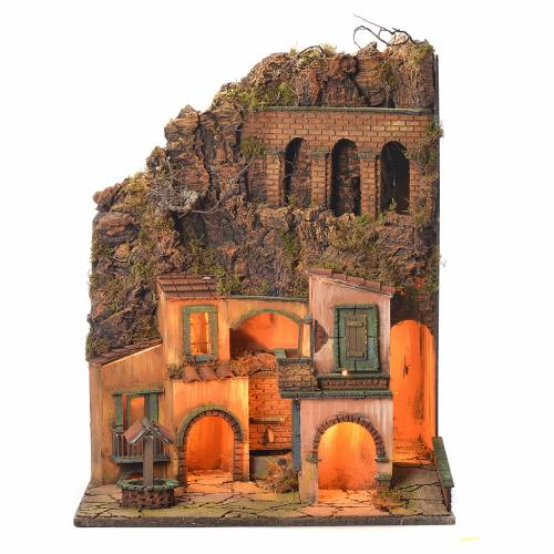 Neapolitan Nativity Village, 1700 style with fountain and well 60x50x42cm s1