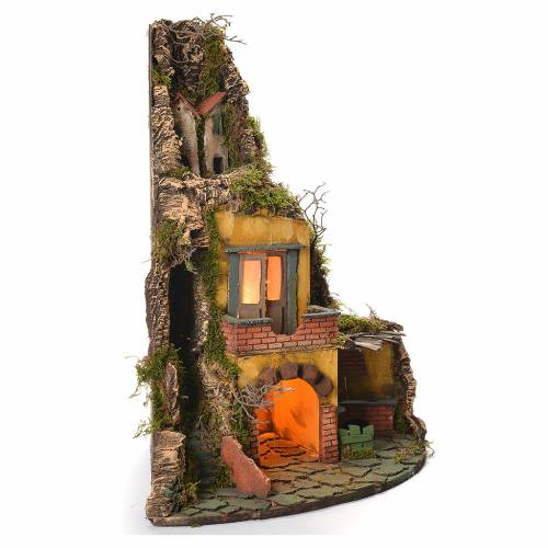 Neapolitan Nativity Village, 1700 style with oven 50x40x50cm s2
