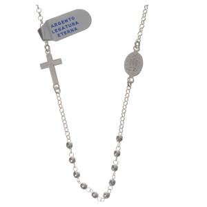 Necklace in 800 silver with Miraculous Medal 3mm with multifaceted grains s2