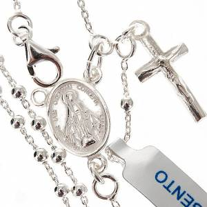 Silver rosaries: Necklace rosary, 800 silver, 2 mm beads