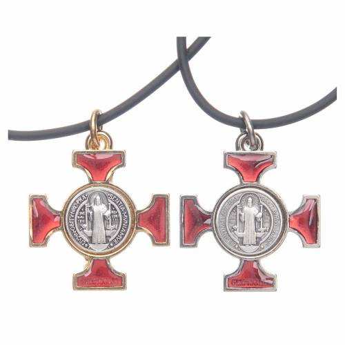 Necklace with St. Benedict Celtic cross, red 2.5x2.5cm s1