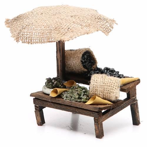 Negozio presepe con ombrello olive 12x10x12 cm s2