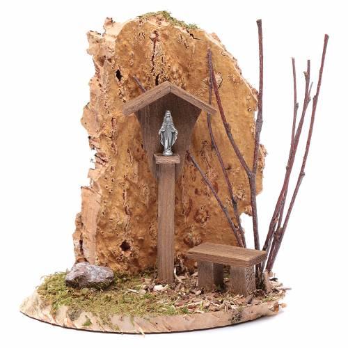 Nicchia con crocifisso e roccia 15x15x10 cm s1