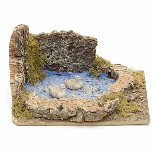 Oche e pulcini nel laghetto ambientazione presepe 8-10 cm s1