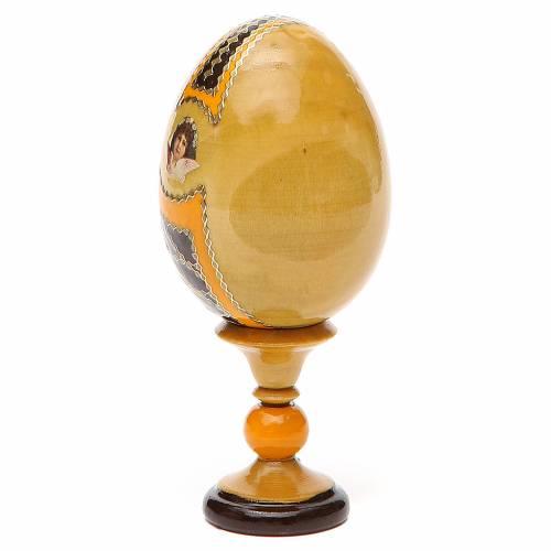 Oeuf bois découpage Russie Kozelshanskaya h 13 cm style Fabergé s3