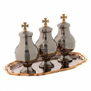 Oleje święte i akcesoria do chrztu: Oleje święte: zestaw dzbanuszków tacka mosiądz
