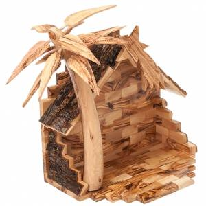 Olive wood Bethleem crib 14 cm s6