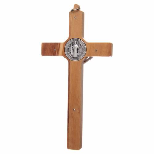 Olive wood Saint Benedict cross s2