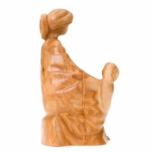 Olive wood statue of Mother Mary with the Baby s2