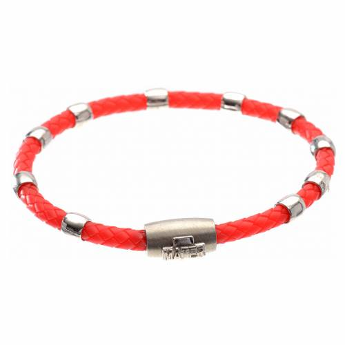 One decade bracelet in silver and red leather, MATER jewels s1