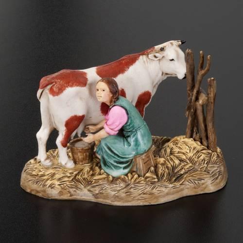 Ordeñador con vaca 10 cm. resina Moranduzzo s3