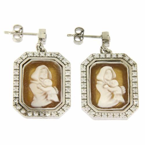 Orecchini argento 925 con zirconi bianchi e cammeo s1